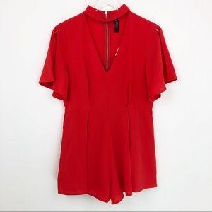 Akira Chicago Jumpsuit Red Romper V-neck